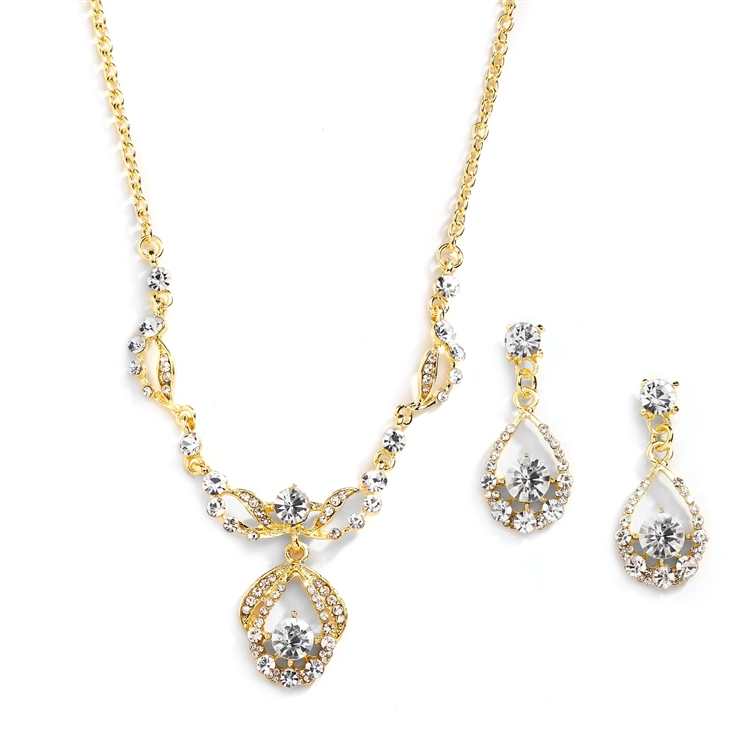 14K Gold Vintage-Style Crystal Necklace and Earrings Set<br>4554S-G