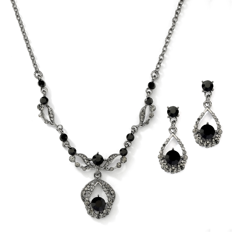 Vintage Crystal Necklace and Earrings Set - Black Hematite Plating<br>4554S-HM