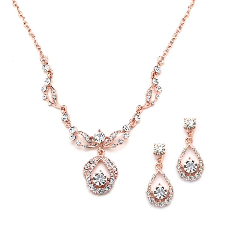 Rose Gold Vintage-Style Crystal Necklace and Earrings Set<br>4554S-RG