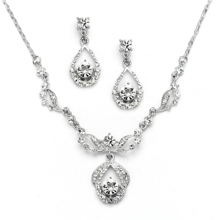 Vintage Crystal Necklace and Earrings Set - Antique Silver Plating<br>4554S-S