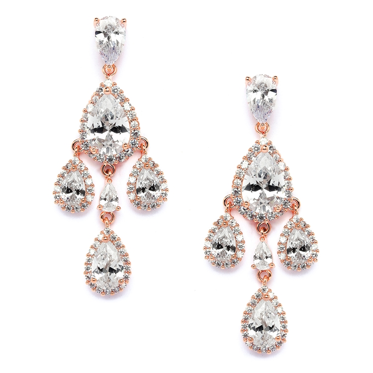 Petite Gold Clip On CZ Chandelier Earrings with Pear-Shaped Halo Teardrops<br>4555EC-RG