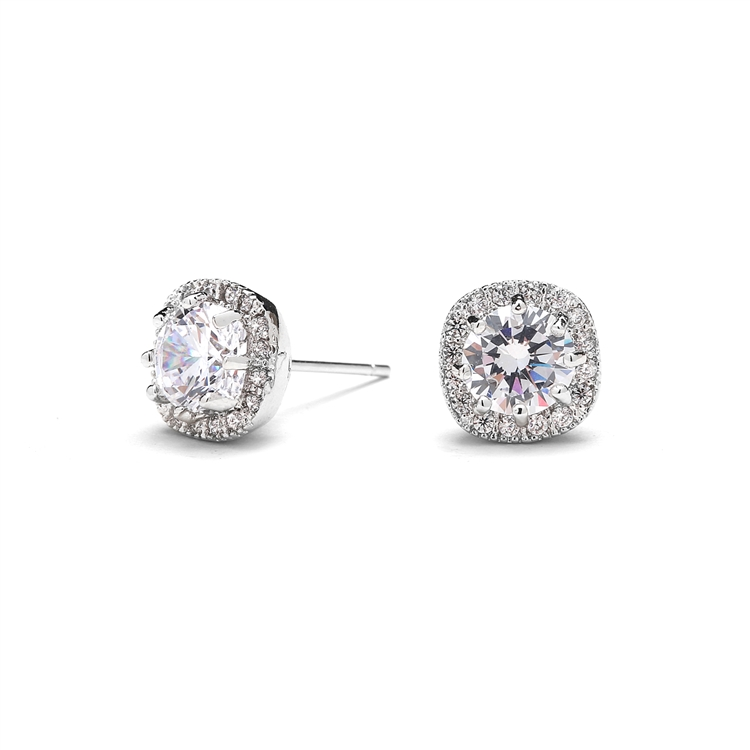 Cubic Zirconia Cushion Shape 10mm Halo Stud Earrings with Round Cut Solitaire<br>4556E