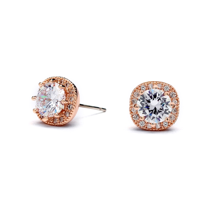 Cubic Zirconia Cushion Shape 10mm Halo Stud Earrings with Round Cut Solitaire<br>4556E-RG