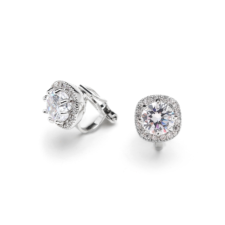 Silver Cushion Shape 10mm Halo Clip On Stud CZ Earrings with Round Solitaire<br>4556EC