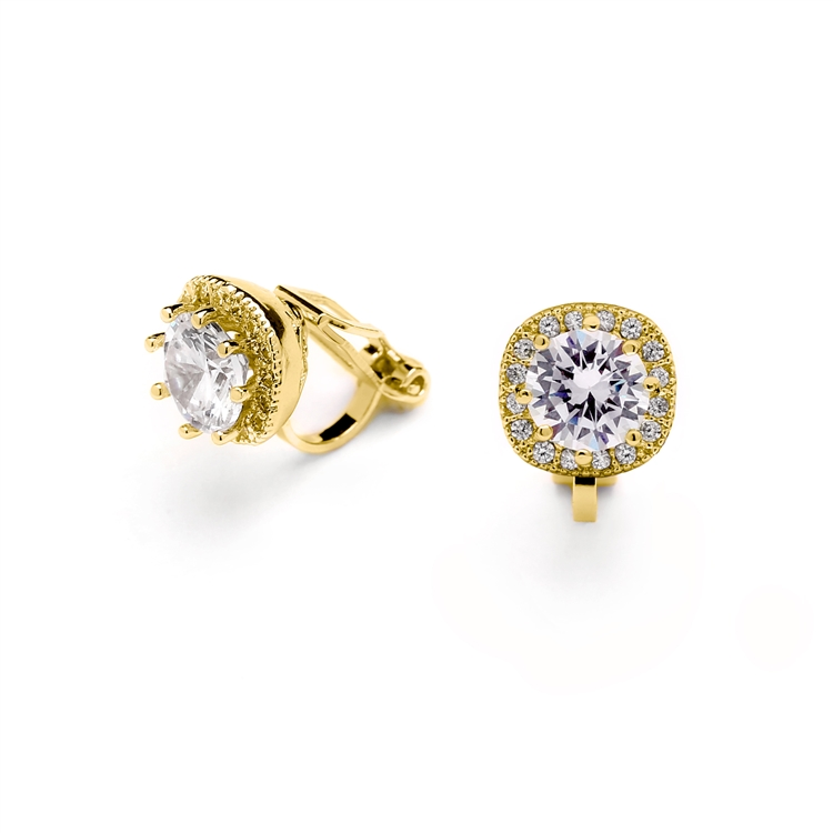 14K Gold Plated Cubic Zirconia Cushion Shape 10mm Halo Clip On Stud Earrings with Round Cut Solitaire<br>4556EC-G