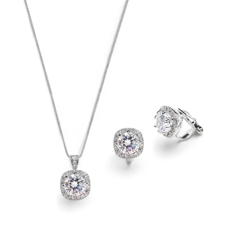 Cushion Cut 10mm CZ Pendant Necklace and Clip-On Earrings Set<br>4556S-EC-S