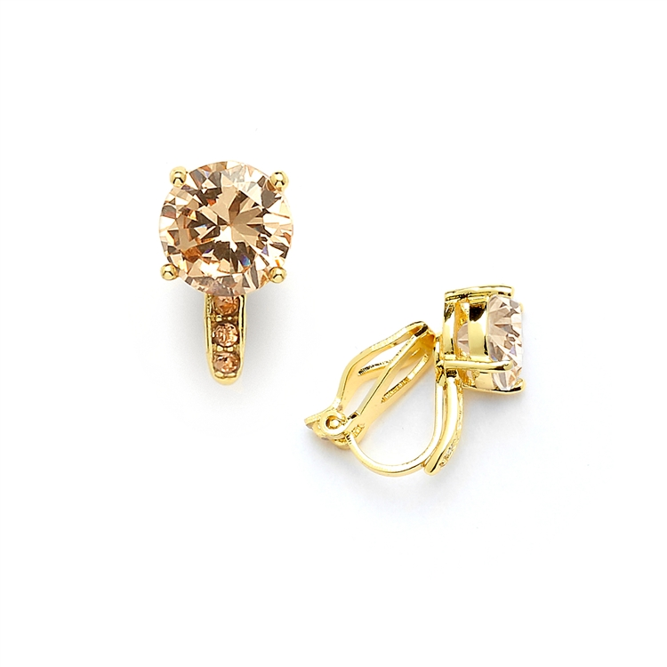 2.0 Ct. Champagne Blush Solitaire CZ Clip-On Stud Earrings - 14k Gold Plated<br>4558EC-CH-G