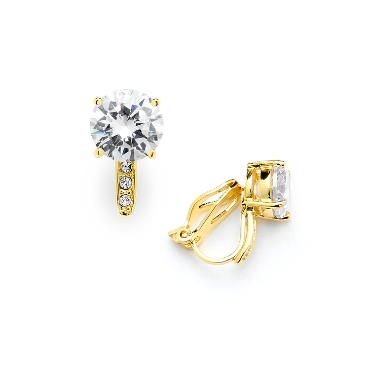 2.0 Ct. CZ Solitaire Clip-On Stud Earrings (8mm) with 14k Gold Plated Pave Accents<br>4558EC-G