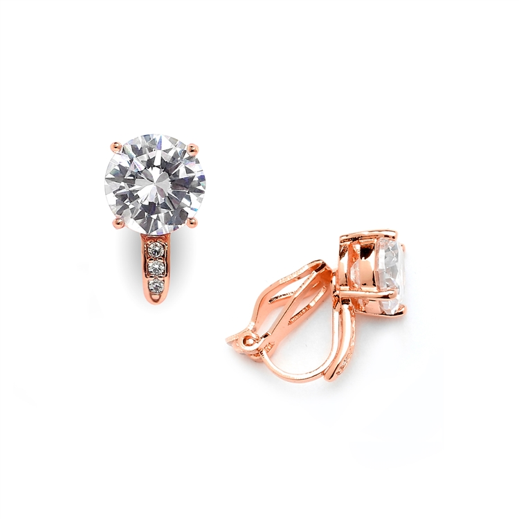 2.0 Ct. CZ Solitaire Clip-On Stud Earrings (8mm) with 14k Gold Plated Pave Accents<br>4558EC-RG