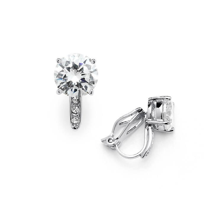 2.0 Ct. CZ Clip-On Stud Earrings (8mm) with Platinum Plated Pave Accents<br>4558EC-S