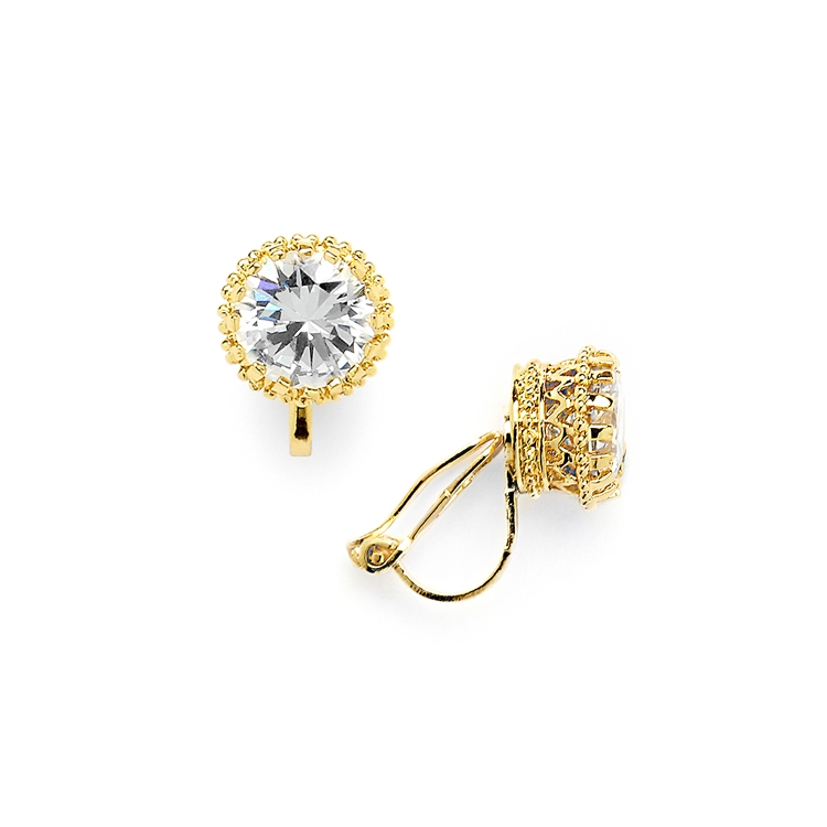 Gold Crown Setting Clip-On 2.0 Carat Round Solitaire Cubic Zirconia Stud Earrings<br>4559EC-G
