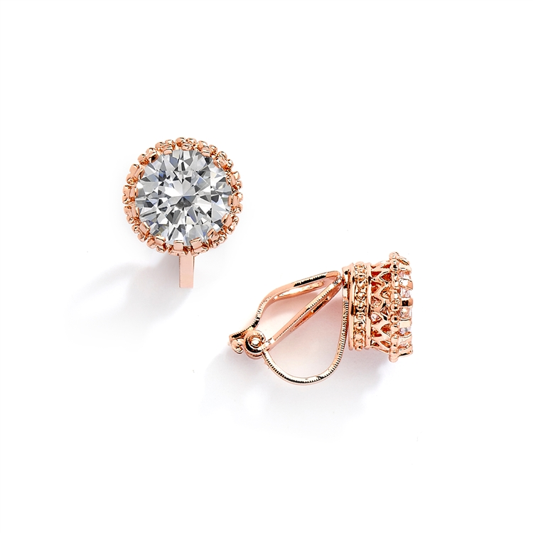 Rose Gold Crown Setting Clip-On 2.0 Carat Round Solitaire Cubic Zirconia Stud Earrings<br>4559EC-RG