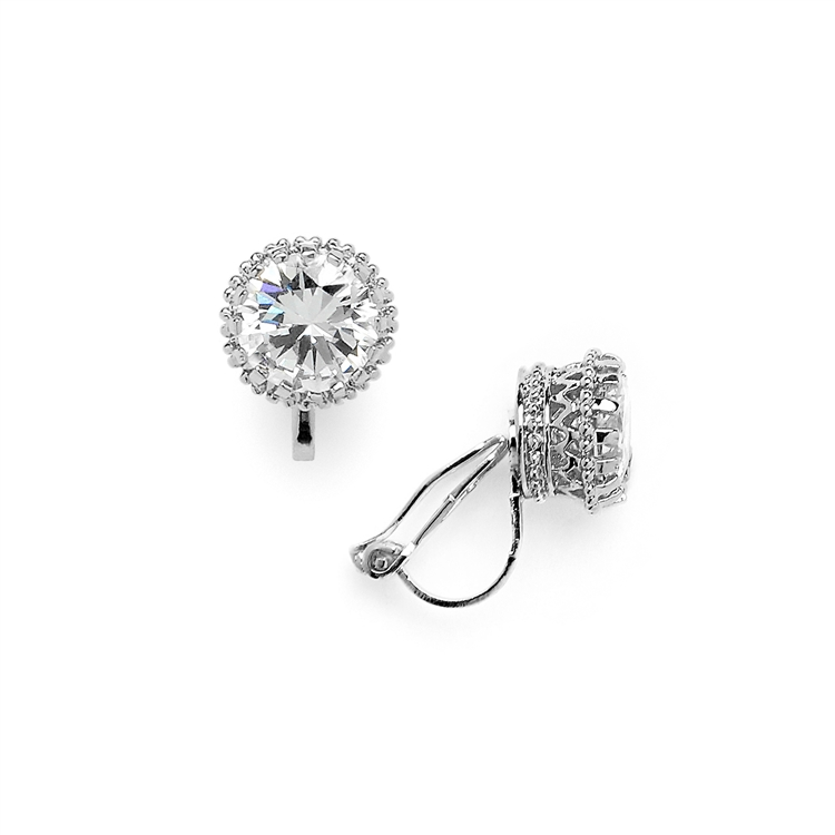 Crown Setting Clip-On 2.0 Ct Round Cubic Zirconia Platinum Plated Stud Earrings<br>4559EC-S
