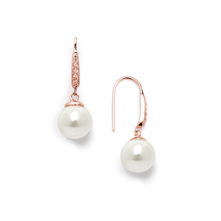 Vintage French Wire Bridal Earrings with Ivory Pearl Drops and 14K Rose Gold Plated CZ Accents<br>4560E-I-RG