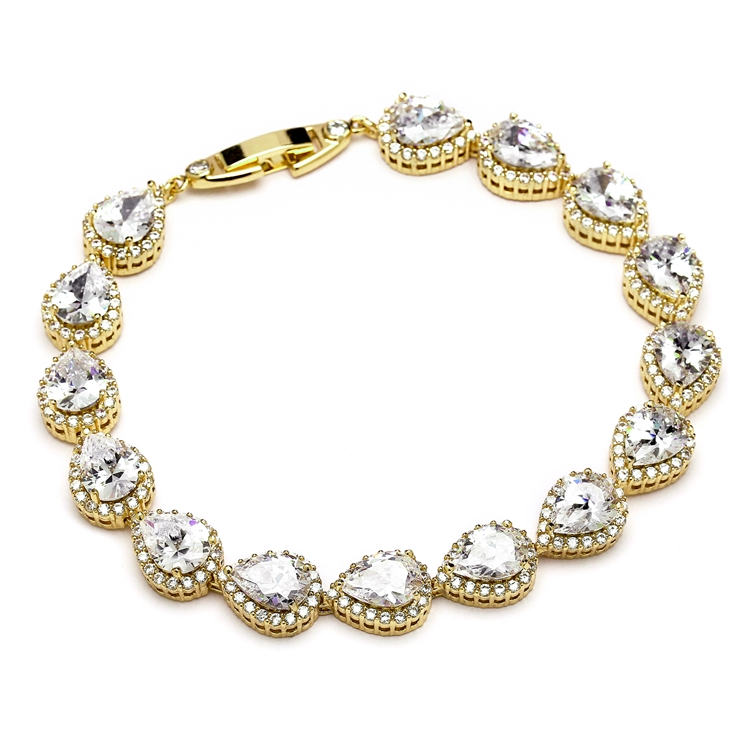 Top Selling Petite Size CZ Framed Pears Bridal or Bridesmaids Gold Bracelet<br>4562B-G-6