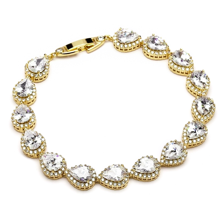 Top Selling CZ Framed Pears Bridal or Bridesmaids Gold Bracelet<br>4562B-G-7