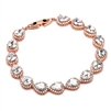 Top Selling CZ Framed Pears Bridal or Bridesmaids Rose Gold Bracelet<br>4562B-RG
