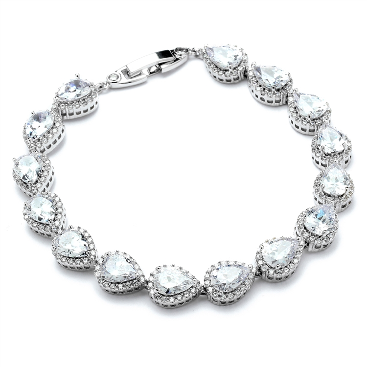 "Petite Size 6 5/8"" CZ Framed Pears Bridal or Bridesmaids Bracelet<br>4562B-S-6"