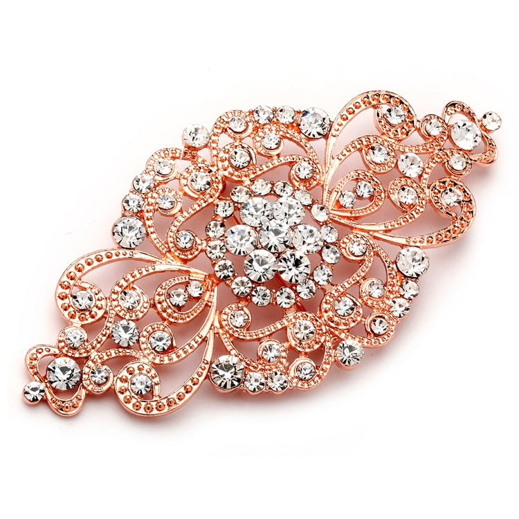 Best Selling Rose Gold Vintage Art Deco Bridal Brooch<br>4574P-RG