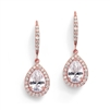 Magnificent Pear Shape CZ Bridal or Pageant Earrings in Rose Gold<br>4575E-RG