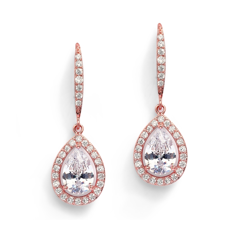 d2723acb9 Magnificent Pear Shape Cut CZ Bridal or Pageant Earrings in Rose Gold <br>4575E