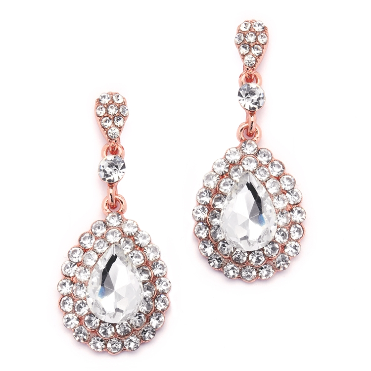 Prom or Bridesmaids Rose Gold Teardrop Statement Earrings with Crystal Accents<br>4576E-RG