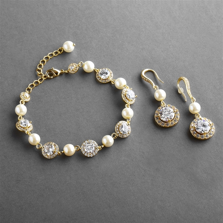 Ivory Pearl and Cubic Zirconia Bridal Bracelet and Earrings Set in 14K Gold<br>4580BS-I-G