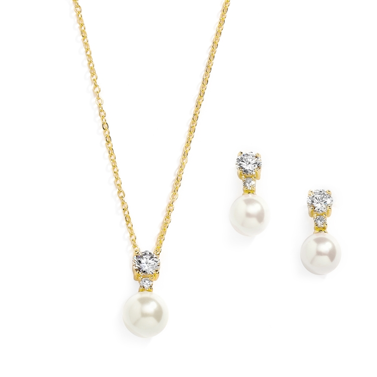 14K Gold Pearl Drop Necklace Set with Round CZ<br>4581S-I-G
