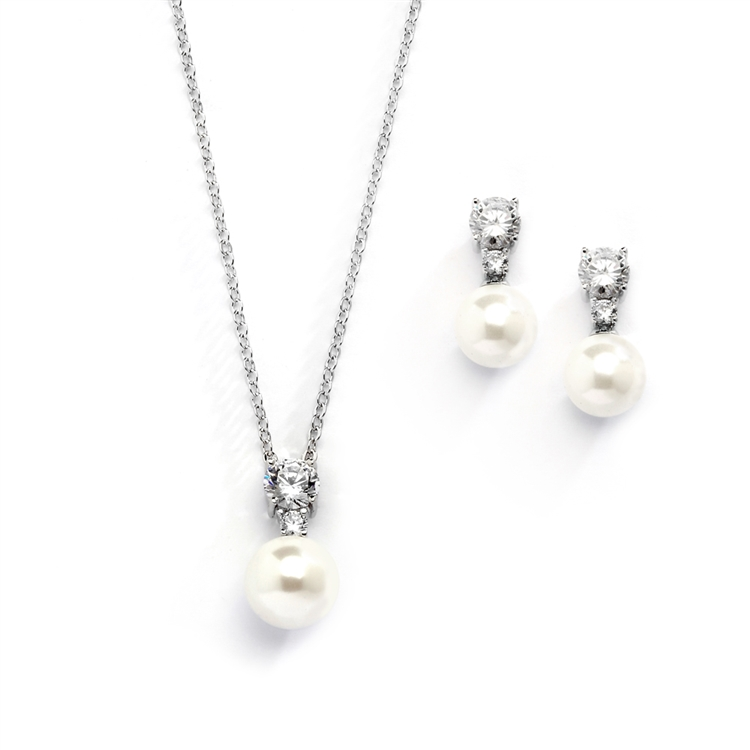 Pearl Drop Necklace Set with Vintage CZ Top and Dainty Earrings<br>4581S-I-S