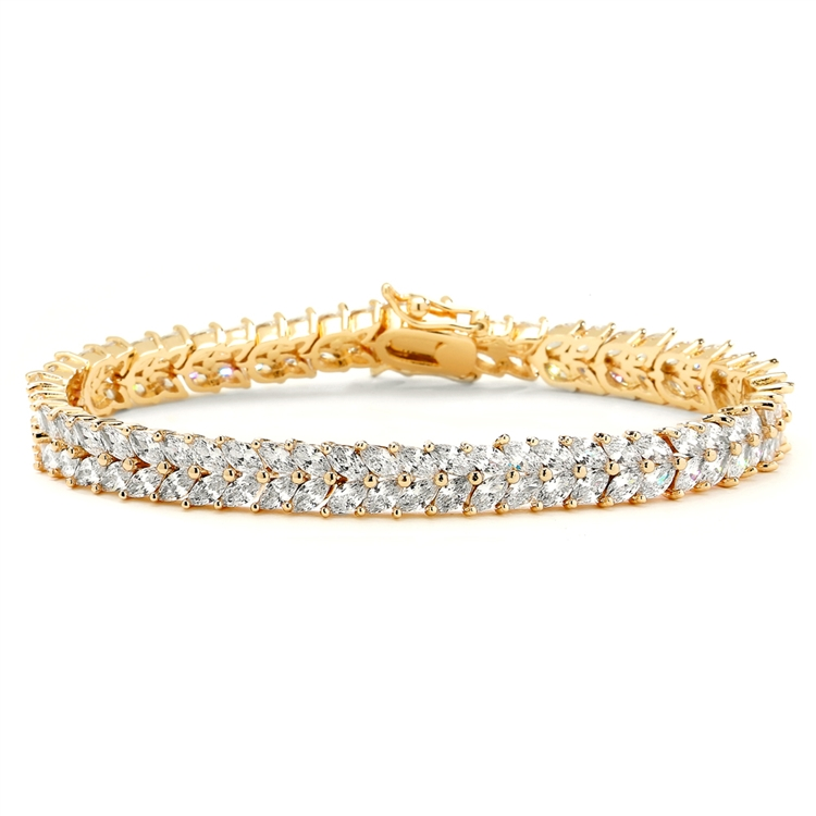 Gold Marquis Cubic Zirconia Wedding or Prom Tennis Bracelet<br>4582B-G