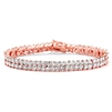 Rose Gold Marquis Cubic Zirconia Wedding or Prom Tennis Bracelet<br>4582B-RG