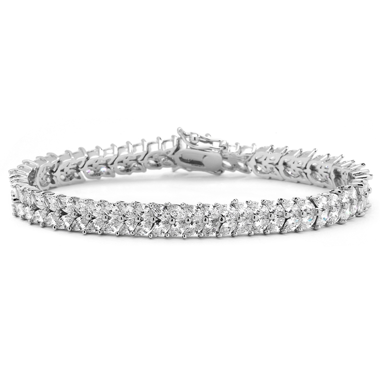 Marquis Cubic Zirconia Wedding or Prom Tennis Bracelet<br>4582B-S