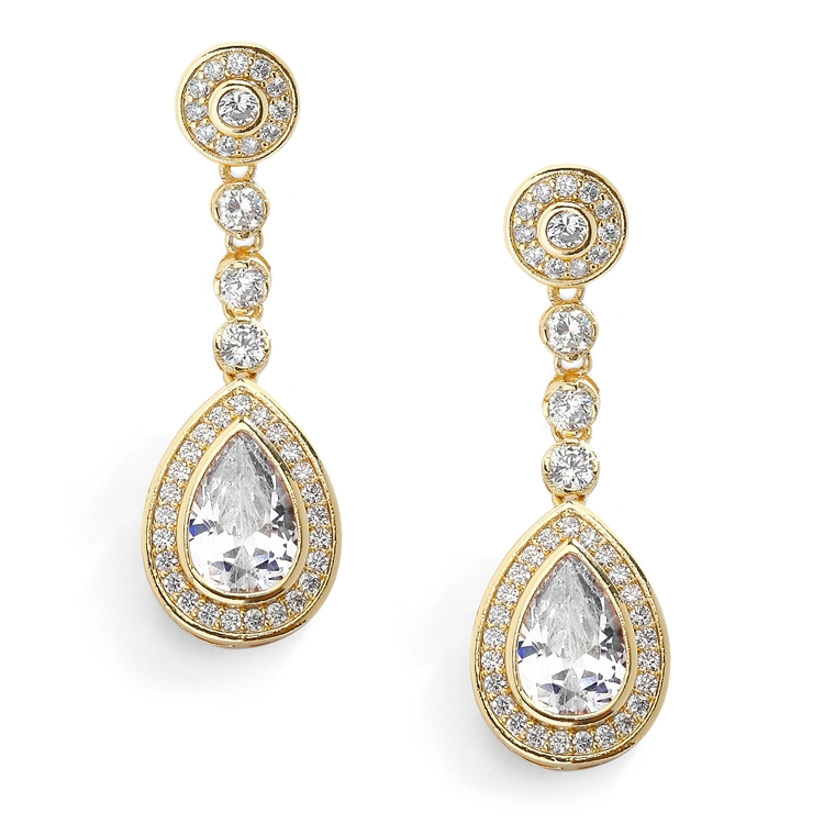 14K Gold CZ Framed Pear Shape Drop Bridal Earrings with Clip Back<br>4583EC-G