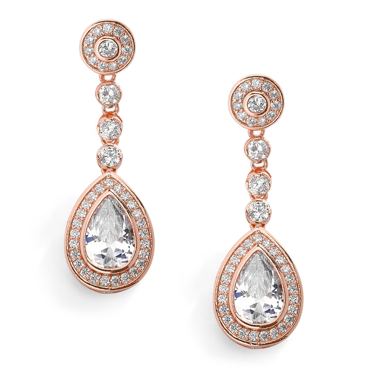 14K Rose Gold CZ Framed Pear Shape Drop Bridal Earrings with Clip Back<br>4583EC-RG