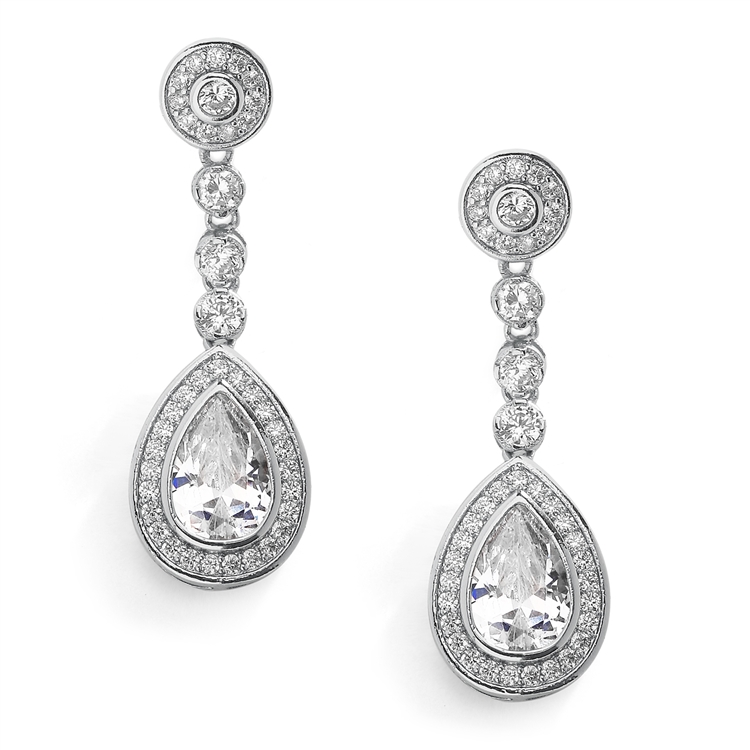Silver Rhodium Clip-On Dangle  Wedding Earrings with Framed Pearshape CZ Drops<br>4583EC-S