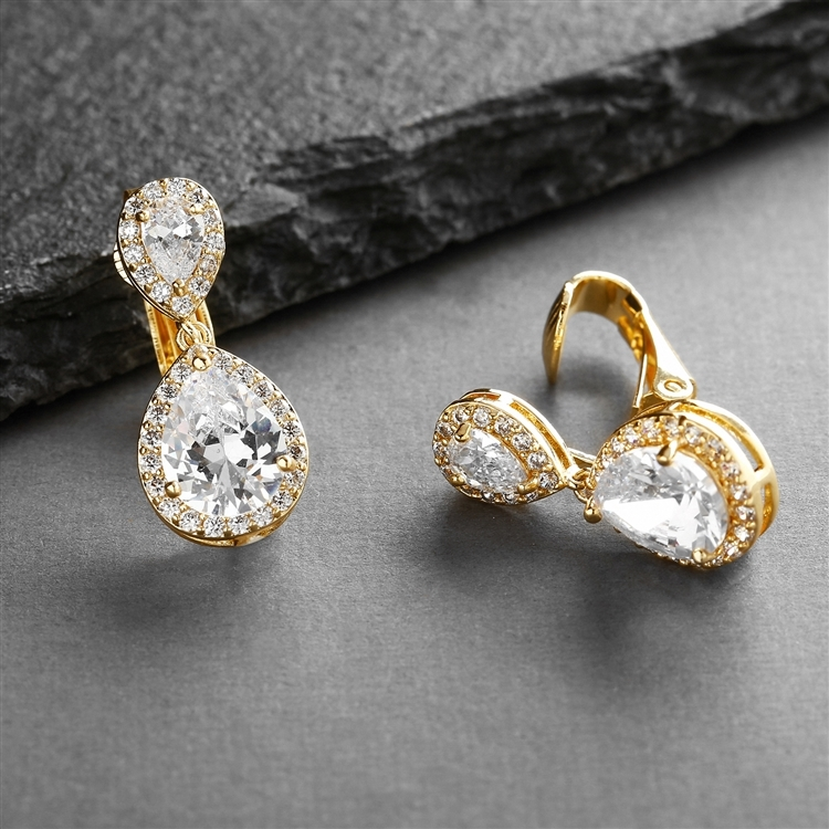 Gold Teardrop Clip-On Cubic Zirconia Wedding Earrings<br>4584EC-G