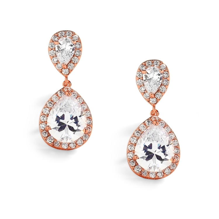 Rose Gold Teardrop Clip-On Cubic Zirconia Wedding Earrings<br>4584EC-RG