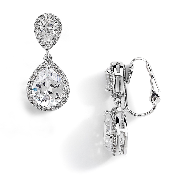 Double Teardrop Clip-On Cubic Zirconia Wedding Earrings<br>4584EC-S
