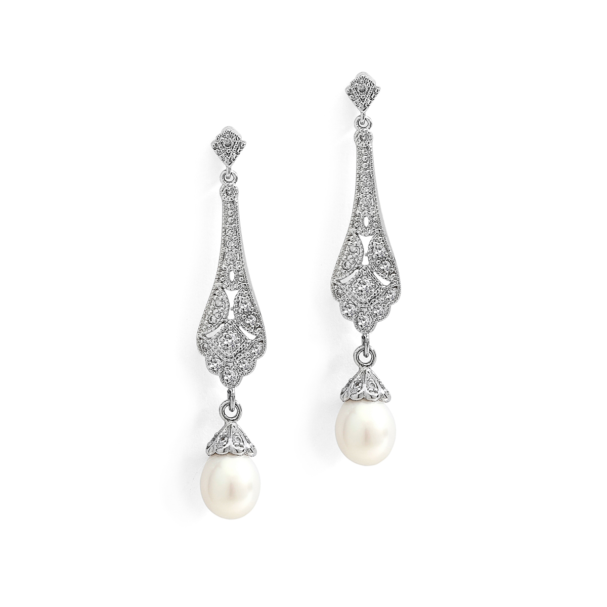 Art Deco CZ Bridal Earrings with Freshwater Pearl<br>4585E-S