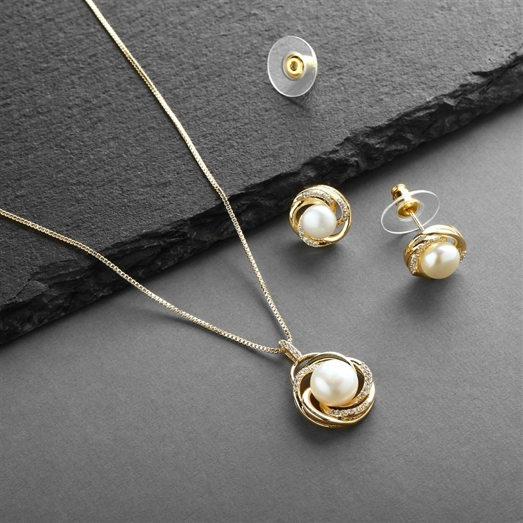 14K Gold Freshwater Pearl Necklace Set with Graceful Woven Knot Motif <br>4586S-G