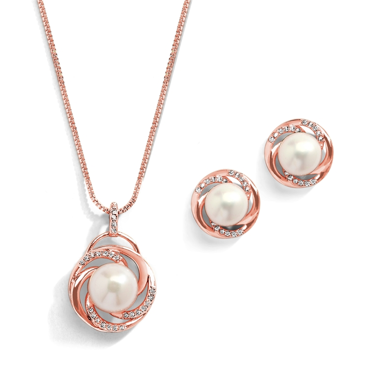 Rose Gold Freshwater Pearl Necklace Set with Graceful Woven Knot Motif <br>4586S-RG