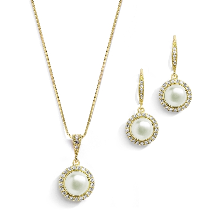 Freshwater Gold Pearl Necklace Set with Inlaid CZ Frame<br>4587S-G