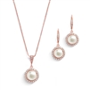 Freshwater Rose Gold Pearl Necklace Set with Inlaid CZ Frame<br>4587S-RG