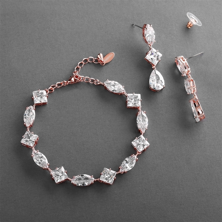 Elegant Cubic Zirconia Multi-Shape Bridal Bracelet and Earrings Set in 14K Rose Gold<br>4588BS-RG