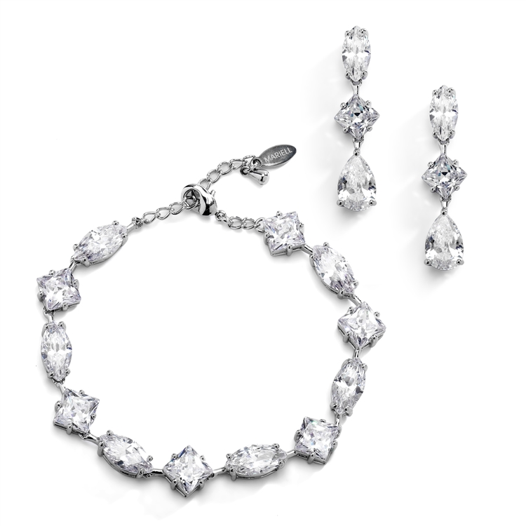 Elegant Cubic Zirconia Multi-Shape Bridal Bracelet and Earrings Set in Rhodium<br>4588BS-S