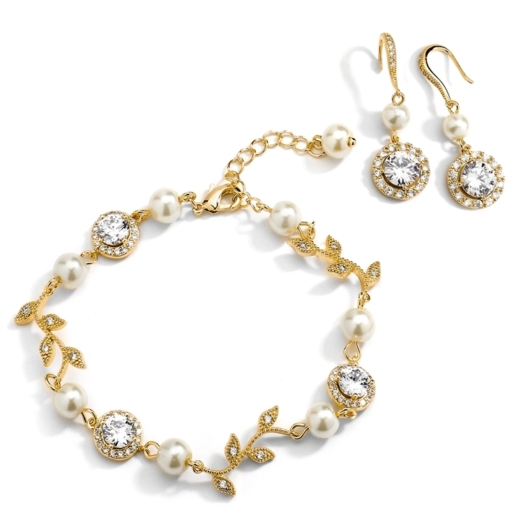 Ivory Pearl and Cubic Zirconia Bridal Bracelet and Earrings Set in 14K Gold<br>4589BS-I-G