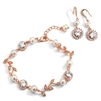 Ivory Pearl and Cubic Zirconia Bridal Bracelet and Earrings Set in Rose Gold<br>4589BS-I-RG