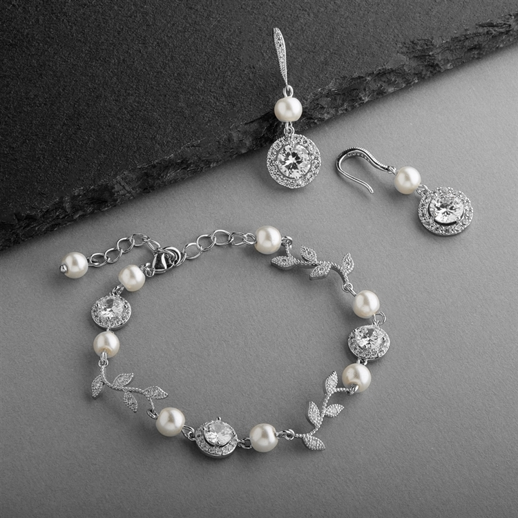 Ivory Pearl and CZ Vine Bridal Bracelet and Earrings Set<br>4589BS-I-S