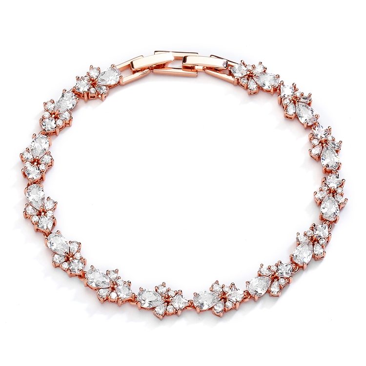 "Rose Gold CZ Wedding Bridal & Prom Tennis Bracelet 7"" Plus ¼"" Extender<br>4590B-RG"