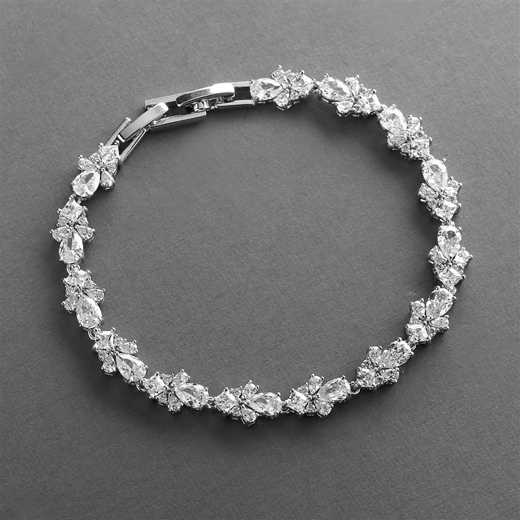 "Cubic Zirconia Wedding Bridal & Prom Tennis Bracelet 7"" Plus ¼"" Extender<br>4590B-S"